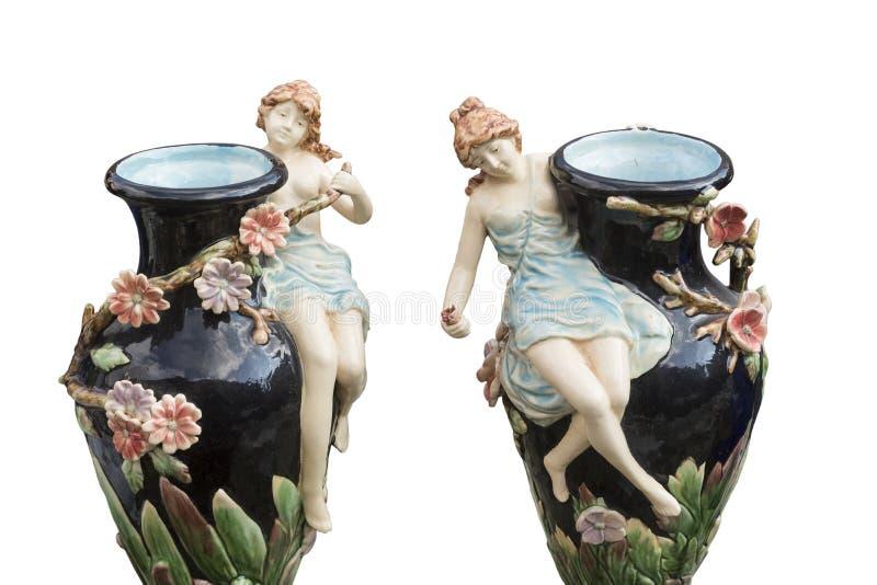 用瓷形象装饰的老双花瓶 库存图片