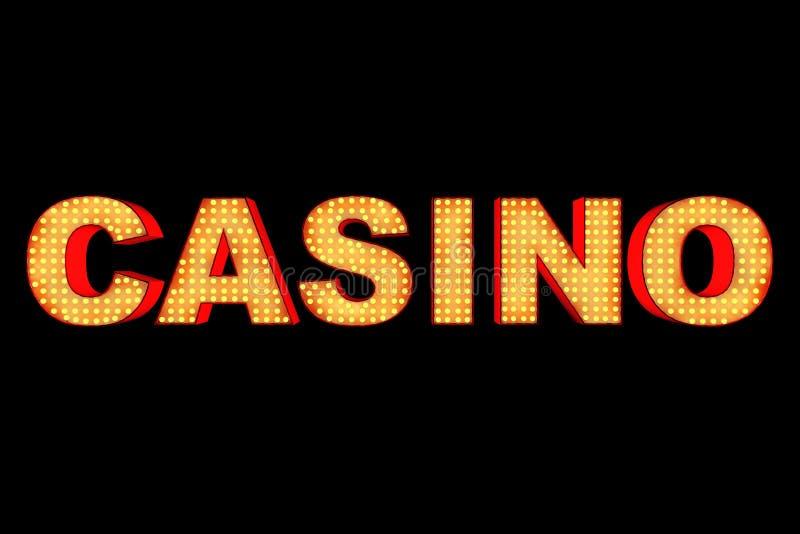 用电灯泡做的赌博娱乐场标志 3d翻译 皇族释放例证
