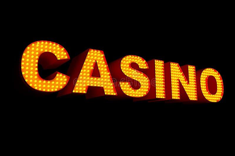 用电灯泡做的赌博娱乐场标志 3d翻译 向量例证