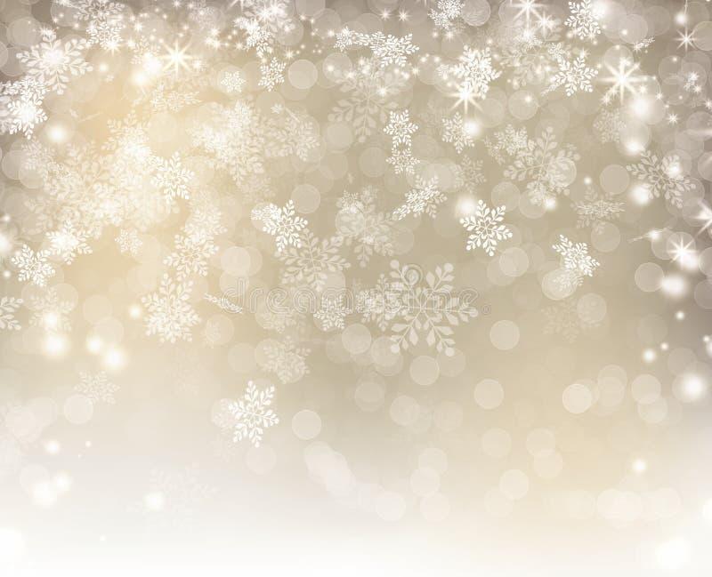 用白色bokeh雪花和星圣诞节装饰的银色光 库存图片