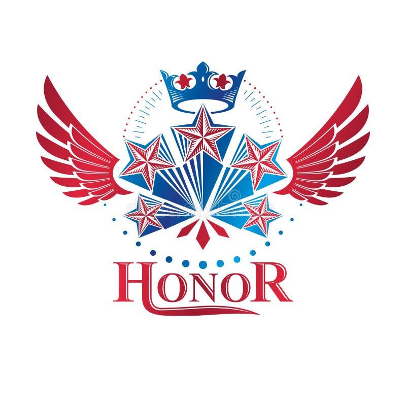 用皇家冠装饰的飞过的古老星象征 纹章学传染媒介设计元素,5个星授予标志 减速火箭的样式标签 向量例证