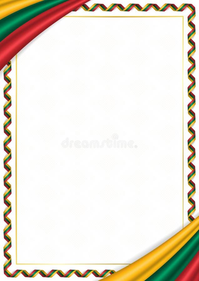 用立陶宛全国颜色做的边界 皇族释放例证