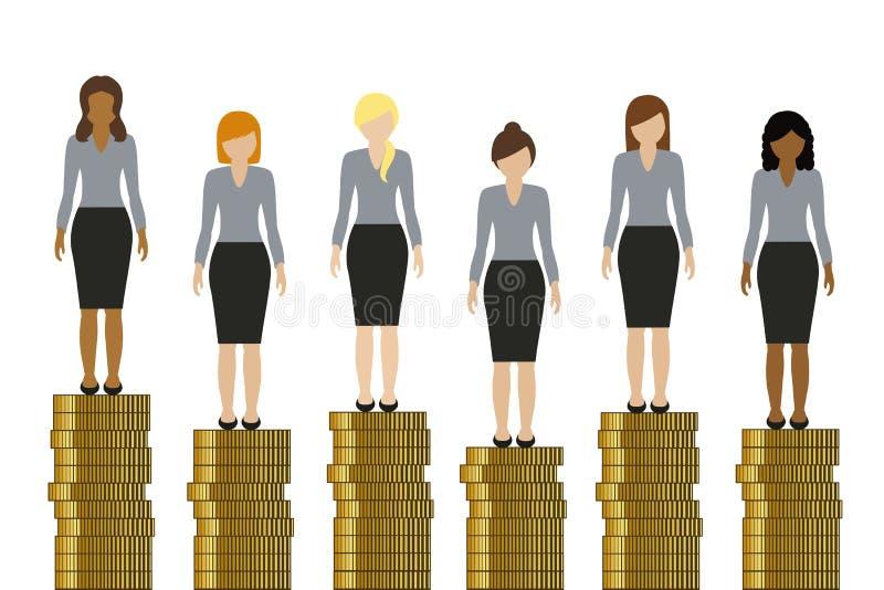 用站立在金黄硬币的不同的收入的妇女 库存例证