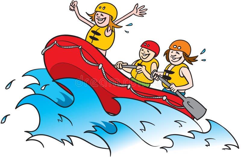 用筏子运送水白色 皇族释放例证