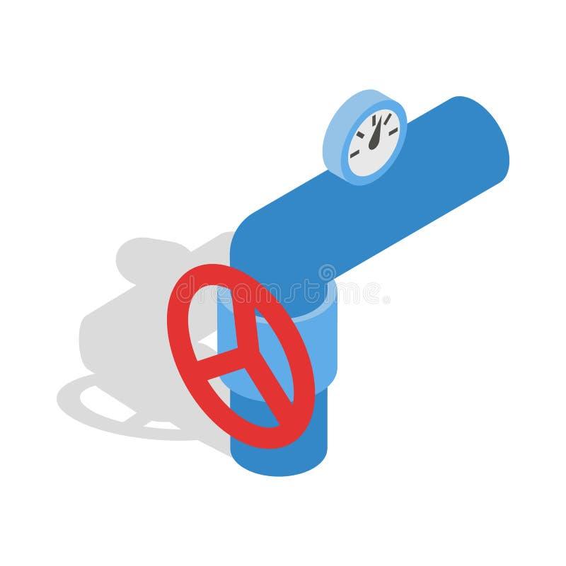 用管道输送与一个红色阀门和米象 库存例证