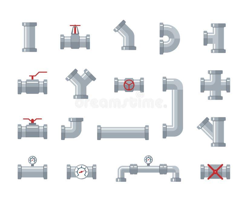 用管道输送钢和塑料连接器,水管 配管、管道零件和阀门,工业排水系统传染媒介 向量例证