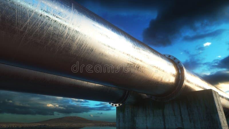 用管道运输运输石油、天然气或者水在金属管子 油概念 3d翻译 库存例证