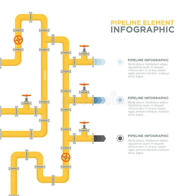 用管道运输infographics模板 用管道输送阀门 皇族释放例证
