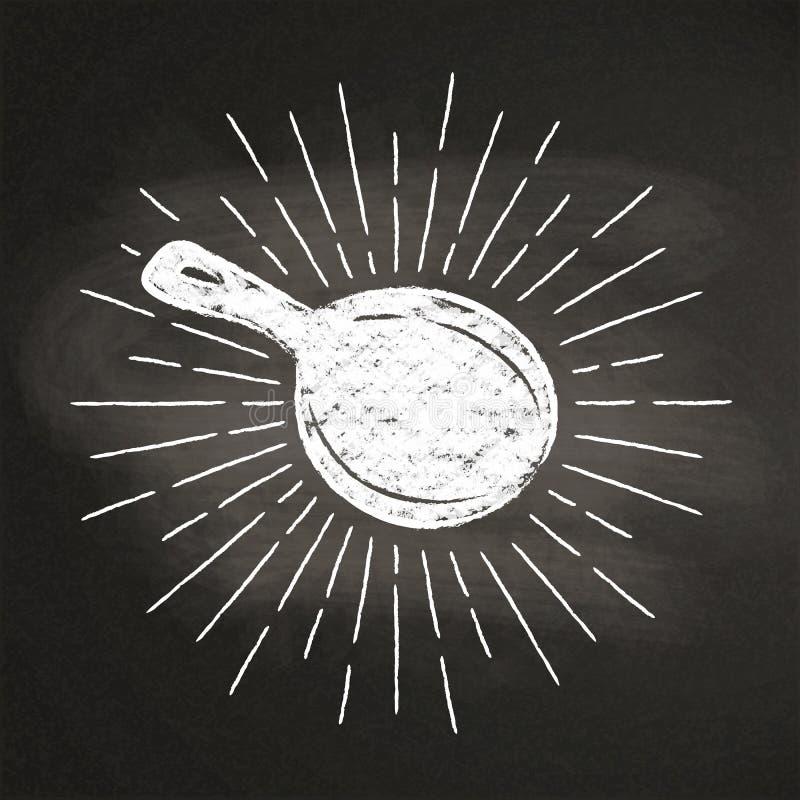 用粉笔写一个平底锅的silhoutte有葡萄酒太阳光芒的在黑板 向量例证