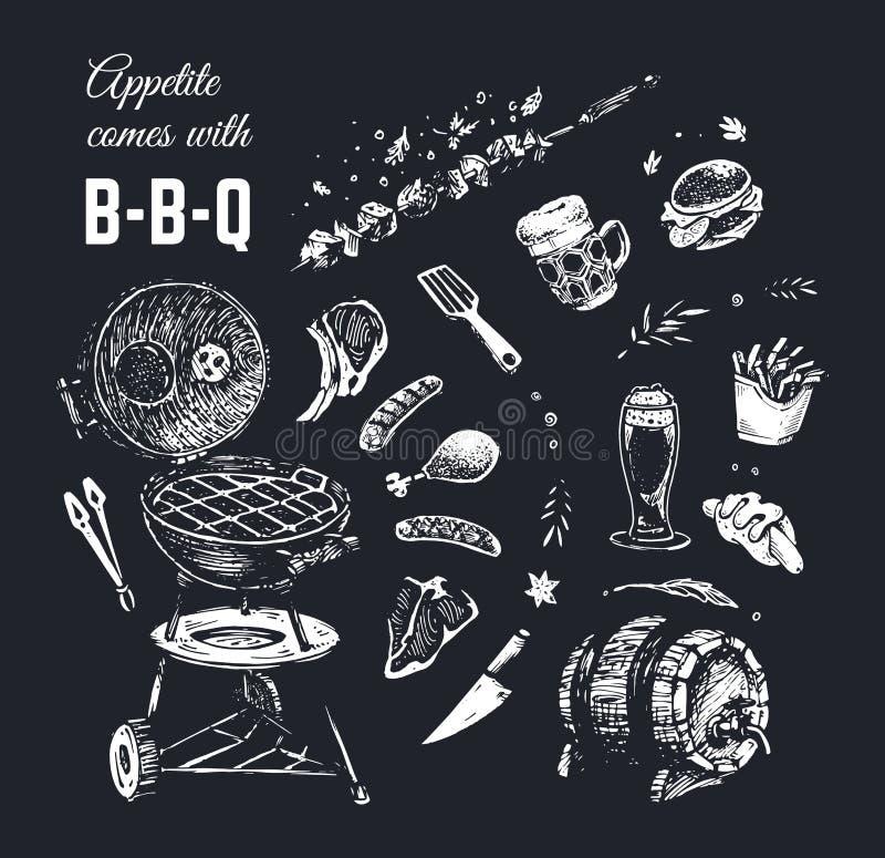 用粉笔写拉长的食物海报设计 向量背景 库存例证