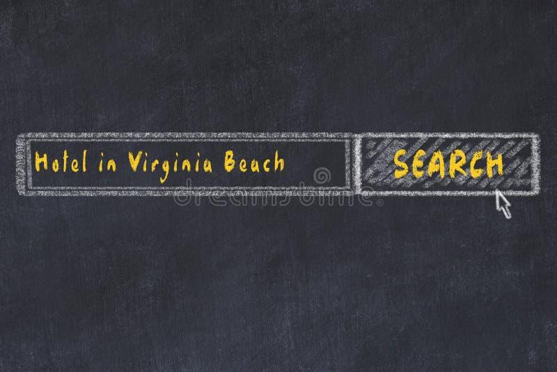 用粉笔写搜索引擎剪影  搜寻和预定一家旅馆的概念在弗吉尼亚海滩 库存例证