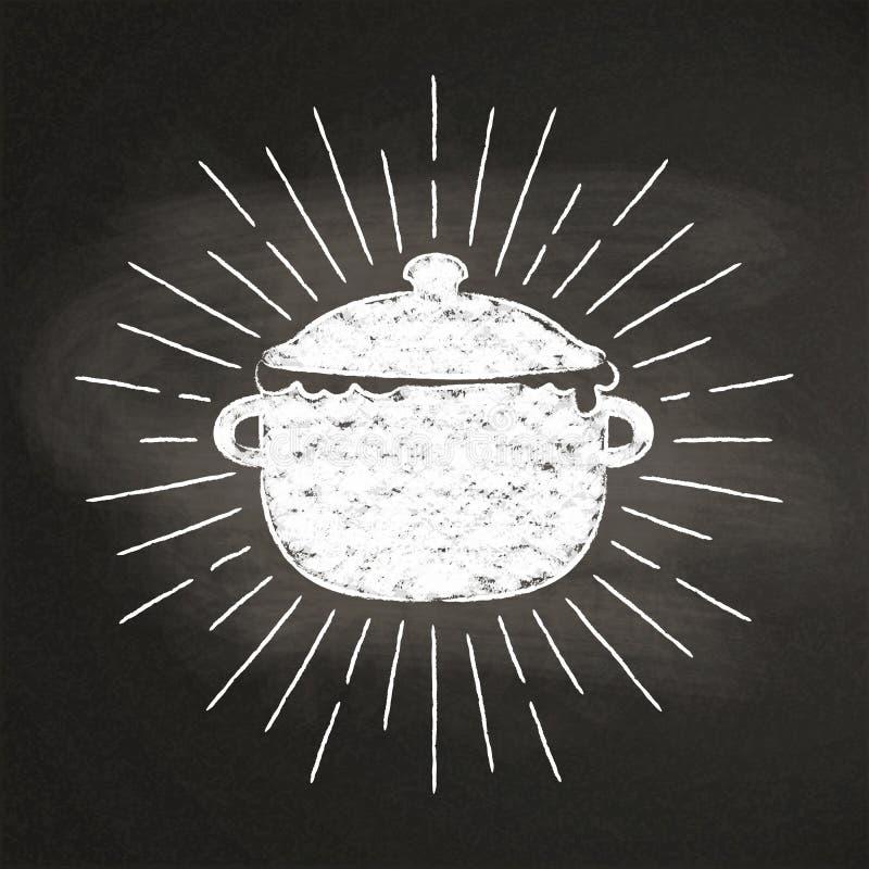 用粉笔写煮沸的罐silhoutte有葡萄酒太阳光芒的在黑板 皇族释放例证