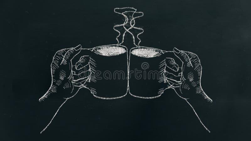 用粉笔写画两只手的手拿着有蒸汽和欢呼的咖啡杯在黑人委员会 库存图片