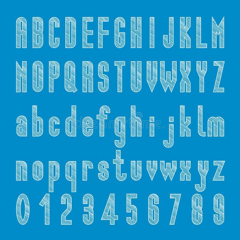 用粉笔写速写的铅印设计,字母表和数字传染媒介 库存例证