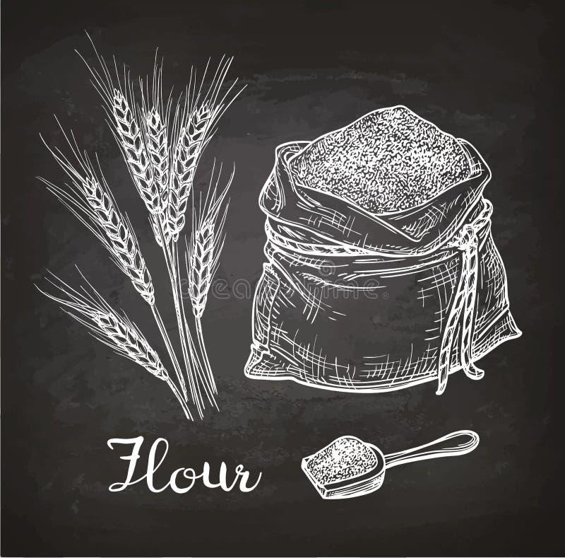 用粉笔写麦子和袋子剪影面粉 向量例证