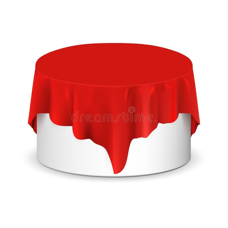用红色丝绸布料盖的传染媒介现实圆的指挥台 空的指挥台,与桌布的立场 库存例证