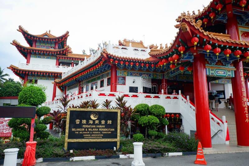 用红色中国灯笼装饰的Thean后屿寺庙吉隆坡马来西亚 图库摄影