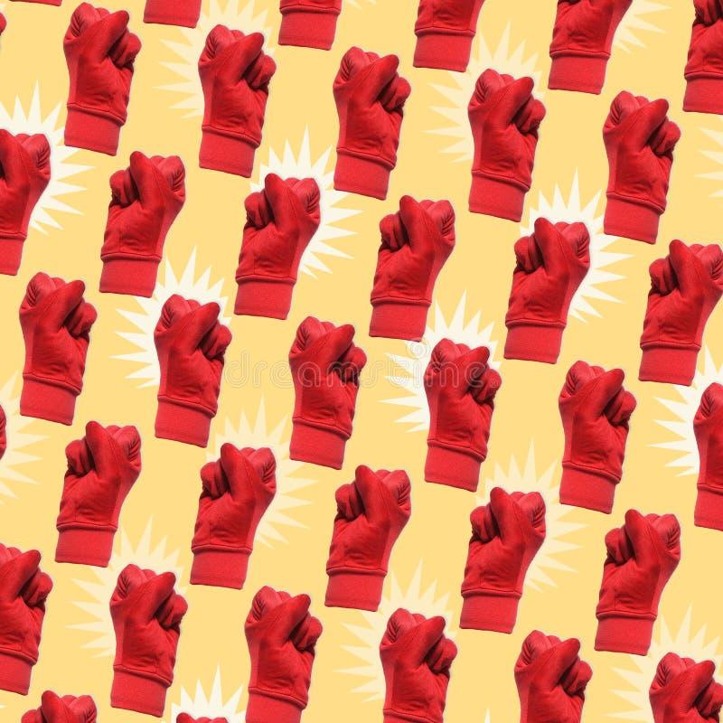 用红色手标志做的几何样式 向量例证