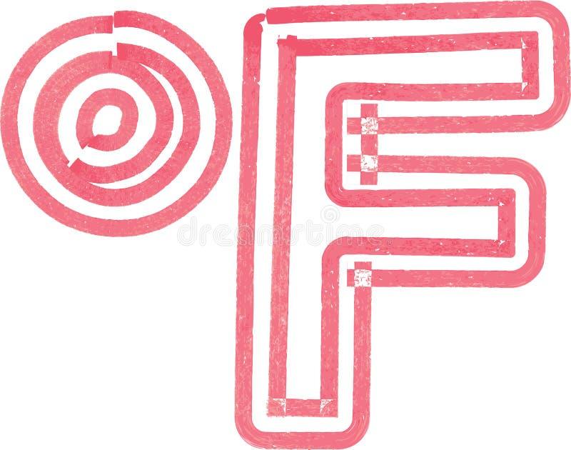 用红色标志做的抽象华氏标志 皇族释放例证