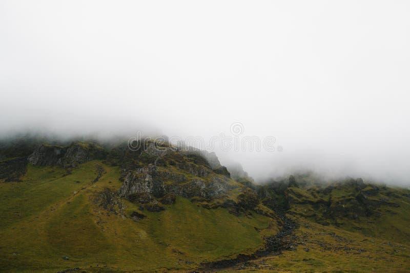 用绿色青苔盖的庄严岩石小山 库存照片