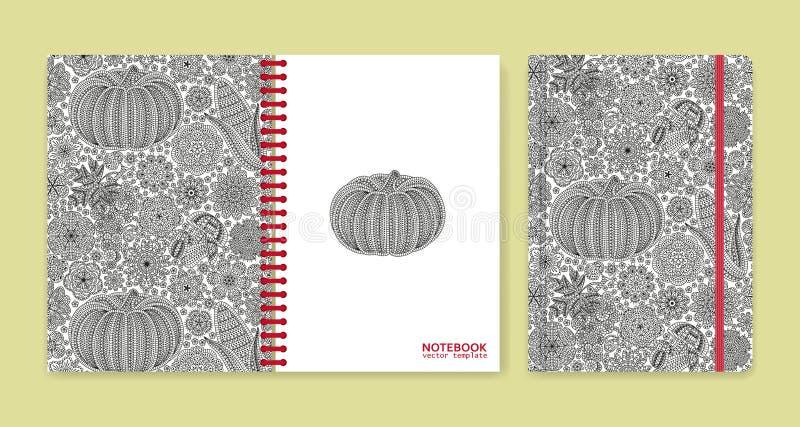 用美丽的装饰品报道笔记本或剪贴薄的设计 库存例证