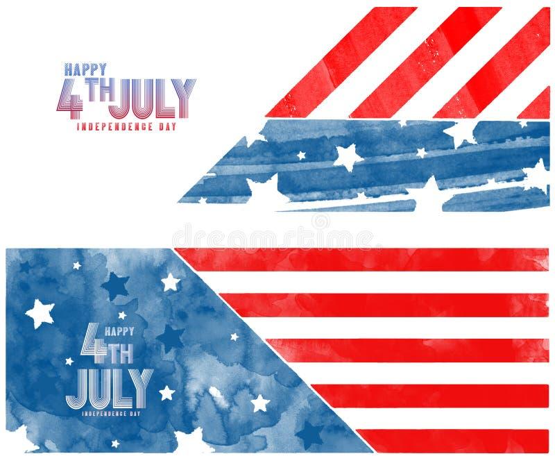 用美国国旗的蓝色和红色刷子冲程装饰的创造性的邀请飞行物celebrat 7月第4,美国独立日党 向量例证