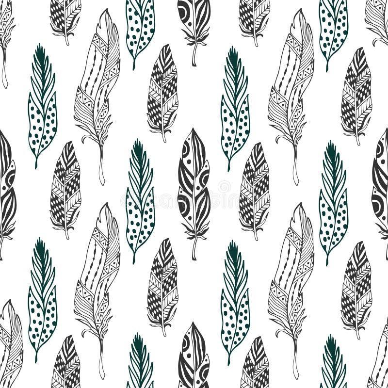 用羽毛装饰在种族样式的无缝的样式 与传染媒介羽毛的手拉的zentangle乱画装饰品样式 向量例证