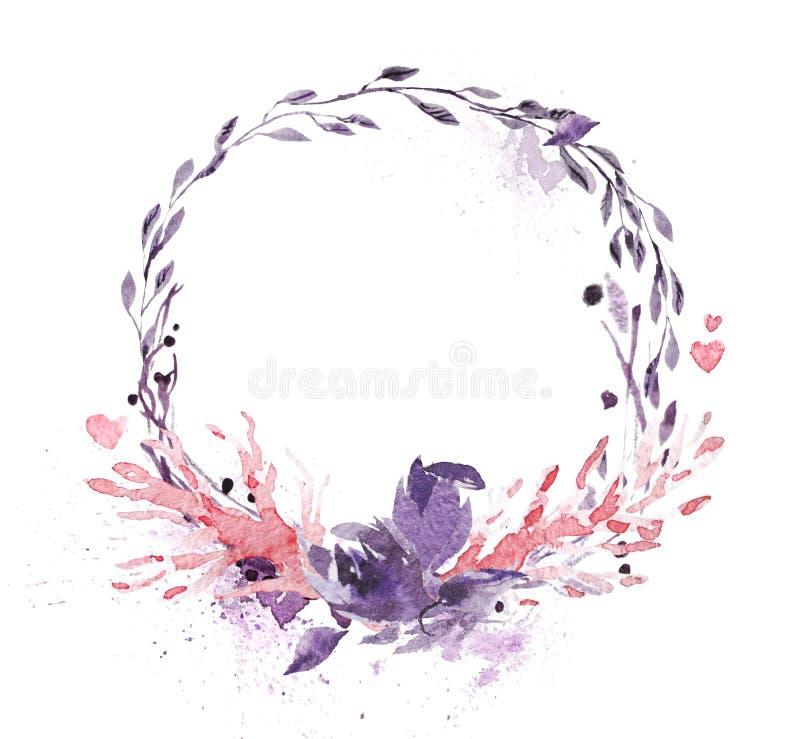 用花卉和植物元素做的手拉的艺术性的水彩框架被隔绝在白色背景 库存例证