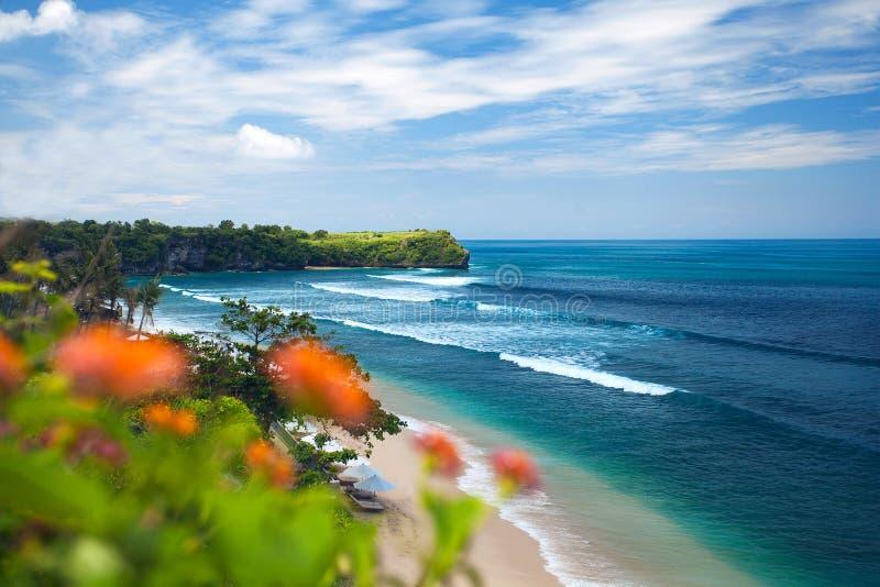 用花装饰的海滩视图 免版税库存图片