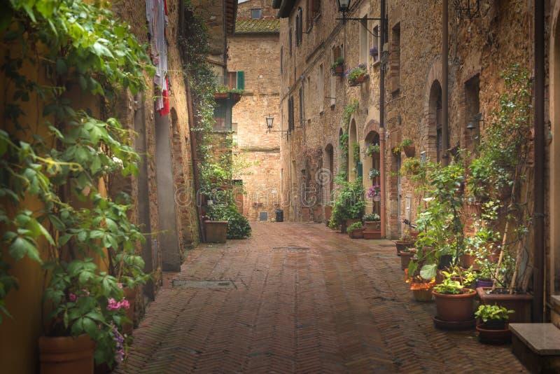 用花装饰的街道在一个多雨春日在一个小不可思议的村庄皮恩扎,意大利 图库摄影
