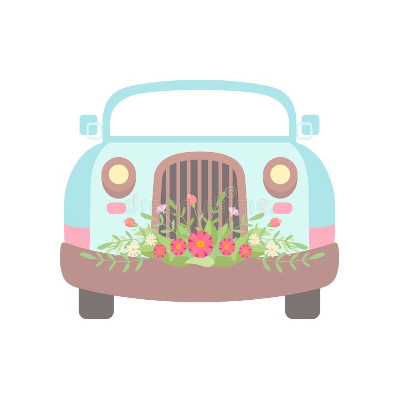 用花装饰的逗人喜爱的浅兰的葡萄酒汽车,婚姻的减速火箭的汽车,正面图传染媒介例证 向量例证