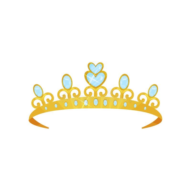 用蓝色宝石装饰的发光的公主冠状头饰 金黄女王/王后冠 妇女s头辅助部件 皇家尊严的标志 皇族释放例证