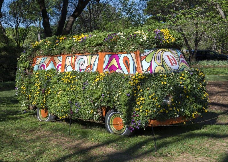 用许多颜色蝴蝶花盖的公共汽车  库存照片