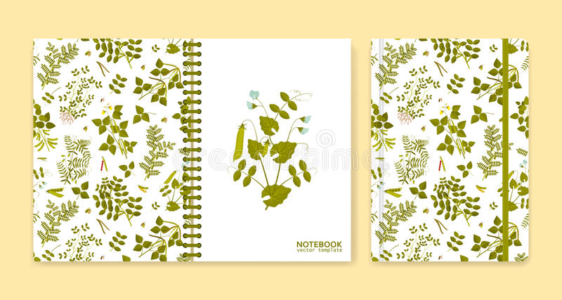 用豆类植物报道笔记本或剪贴薄的设计 皇族释放例证
