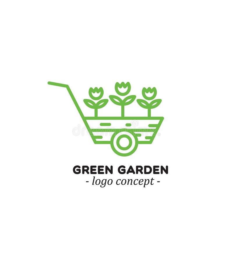 用车运送花 庭院绿色 花市场的商标概念 向量例证