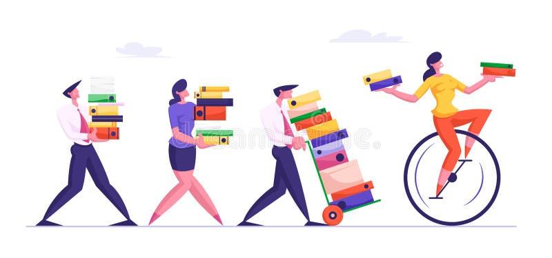 用辛苦装载的繁忙的雇员在办公室 商人运载巨大的堆文献 库存例证