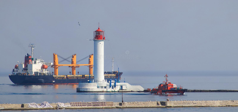 用运输装载的货物口岸海洋货船 库存图片
