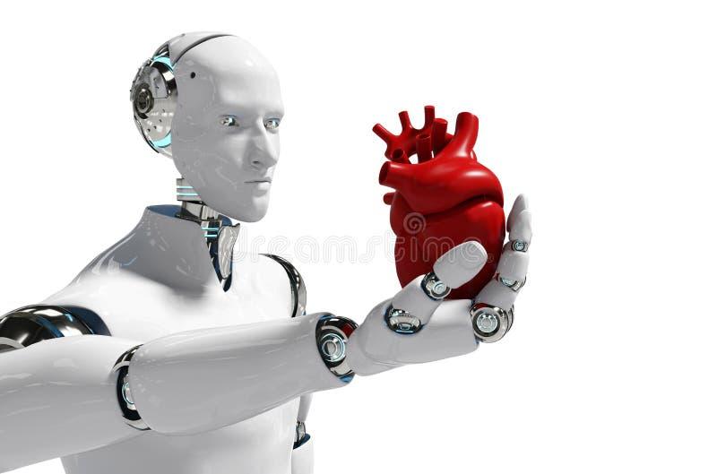 用途医疗白色背景3D翻译的-例证医疗机器人概念机器人 库存例证