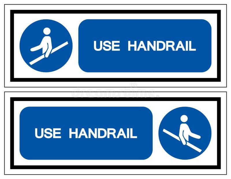 用途扶手栏杆标志标志,传染媒介例证,隔绝在白色背景标签 EPS10 库存例证