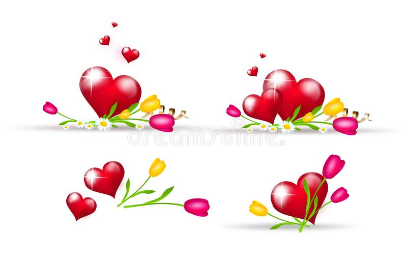 用郁金香装饰的套红色心脏 向量例证