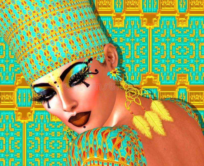 用金子和绿松石装饰的埃及女王/王后 库存例证