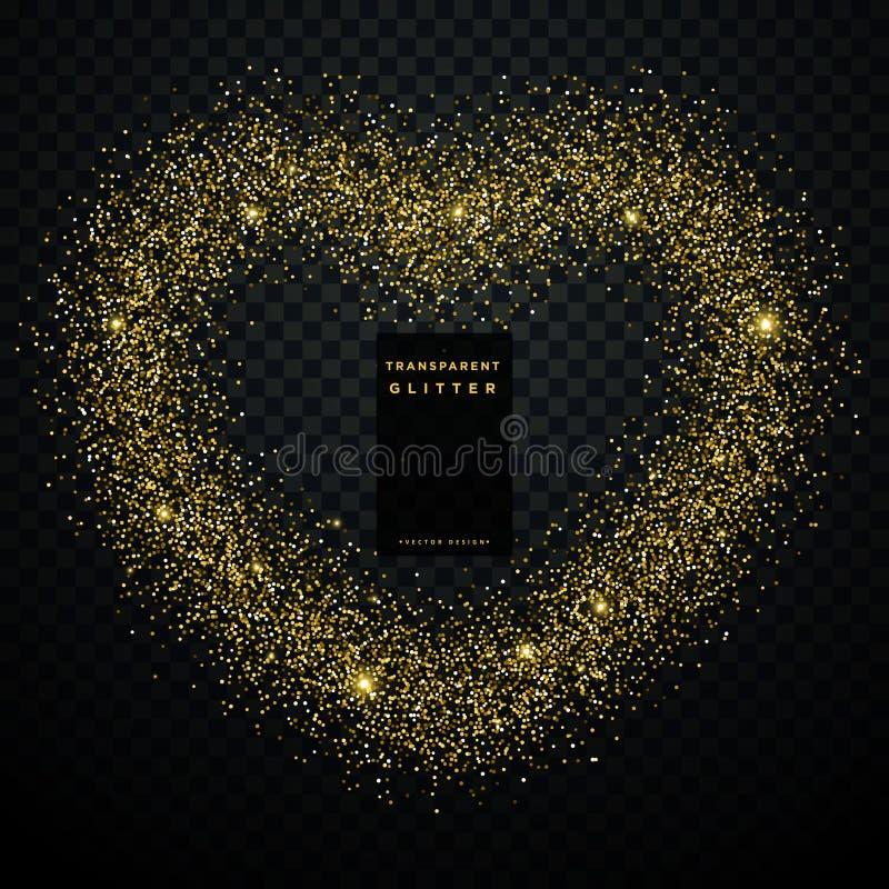 用金黄闪烁做的心脏设计 皇族释放例证