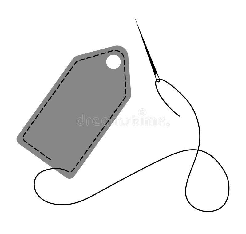 用针装饰的手工制造标签的传染媒介例证做由螺纹和针 向量例证