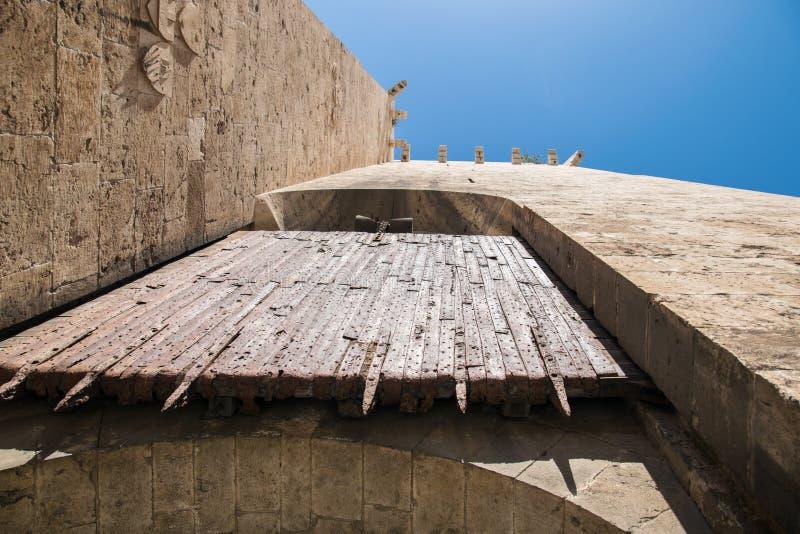 用铁板材盖的木门户的细节关闭入口到城堡 免版税库存图片