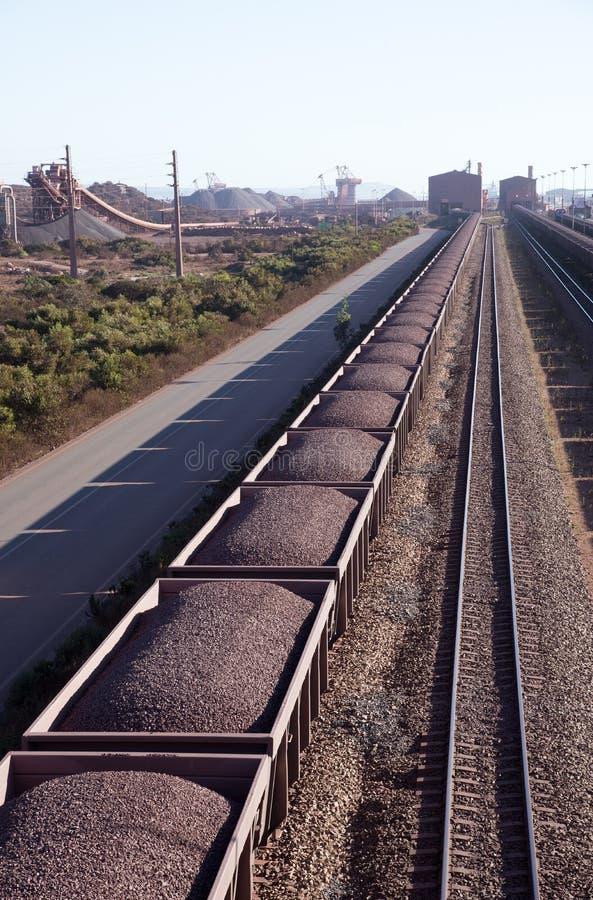 用铁矿装载的铁路卡车 免版税图库摄影