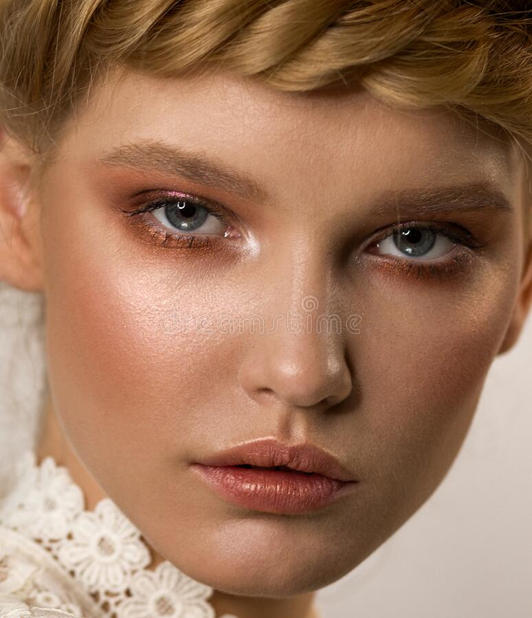 用铜色化妆特写女人脸 免版税图库摄影