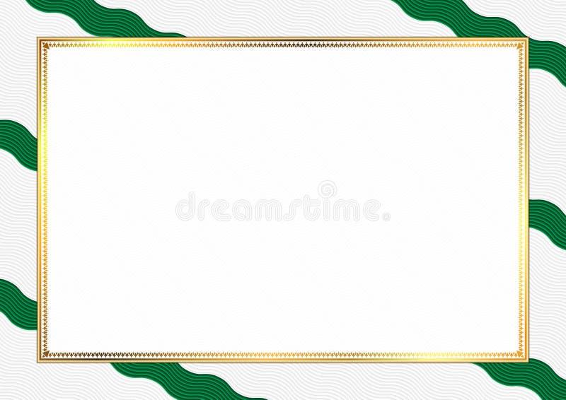用阿尔及利亚全国颜色做的边界 库存例证