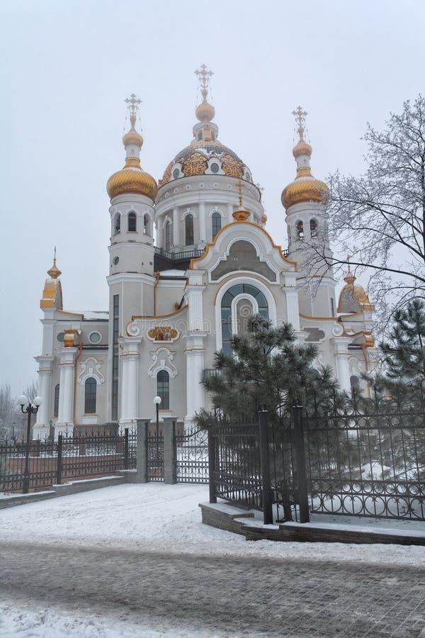 用雪和Fevronia盖的东正教圣皮特圣徒・彼得 顿涅茨克 免版税库存照片