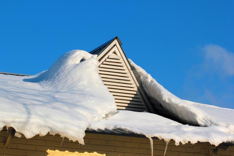 用雪盖的屋顶窗口 库存图片