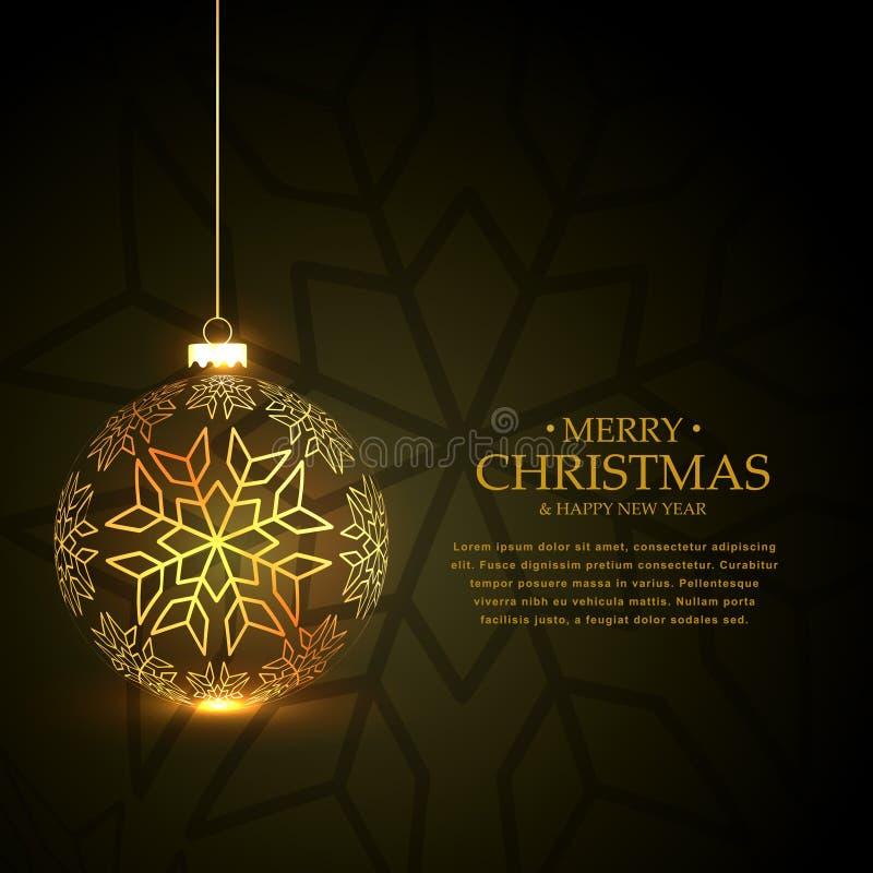 用雪花做的金黄圣诞节球在绿色背景 库存例证